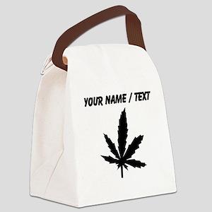 Custom Black Weed Leaf Canvas Lunch Bag