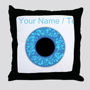 Custom Blue Eye Ball Throw Pillow