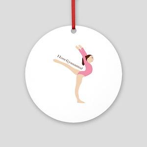 I Love Gymnastical Ornament (Round)