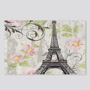 modern floral paris eiffel tower art Postcards (Pa