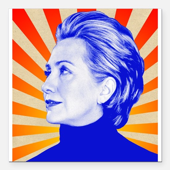 "Hillary Clinton Square Car Magnet 3"" x 3"""