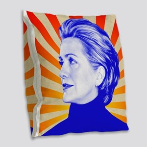 Hillary Clinton Burlap Throw Pillow