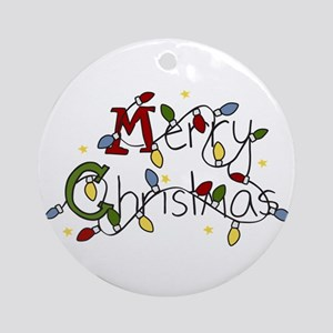 Merry Christmas Lights Ornament (Round)