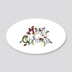 Merry Christmas Lights Oval Car Magnet