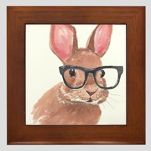 Nerd Bunny Framed Tile