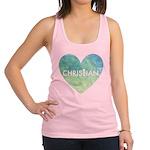 Christian Heart Blue Racerback Tank Top