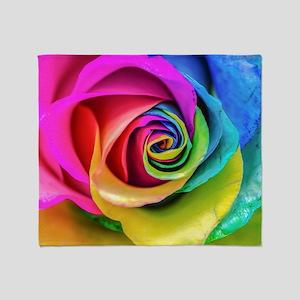Rainbow Rose Square Throw Blanket