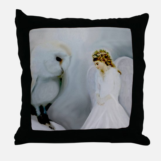 Guardian Angel and White Owl Throw Pillow