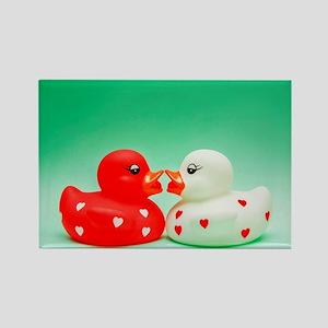Kissing Ducks Rectangle Magnet