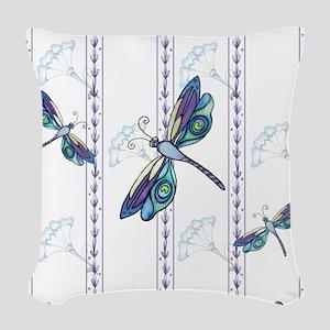 Floral Dragonflies Woven Throw Pillow