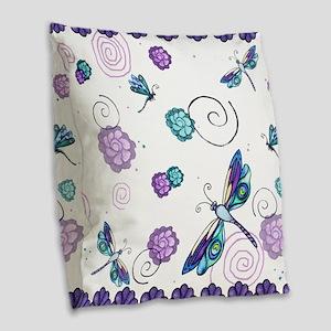 Decorative Swirls and Dragonflies Burlap Throw Pil