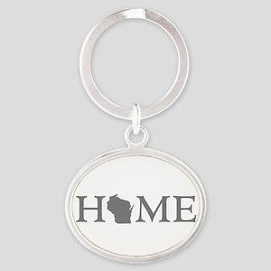 Wisconsin Home Oval Keychain
