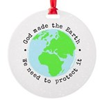 Protect God's Earth Round Ornament