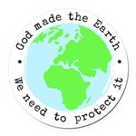 Protect God's Earth Round Car Magnet