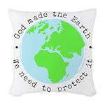 Protect God's Earth Woven Throw Pillow
