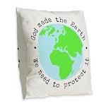 Protect God's Earth Burlap Throw Pillow