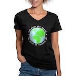Protect God's Earth Women's V-Neck Dark T-Shirt