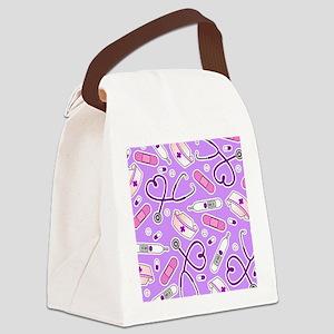 Cute Nurse Love Pattern Purple Canvas Lunch Bag