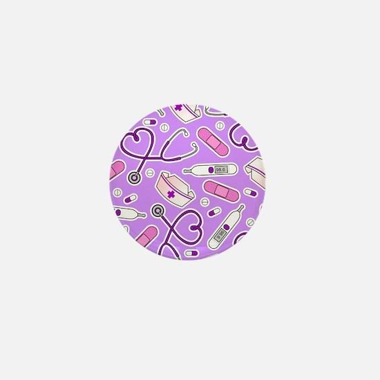 Cute Nurse Love Pattern Purple Mini Button