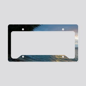 Sunset over a tropical ocean  License Plate Holder