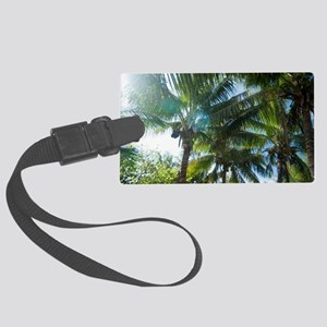 Tropical palms lit by the sun Large Luggage Tag