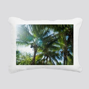 Tropical palms lit by th Rectangular Canvas Pillow