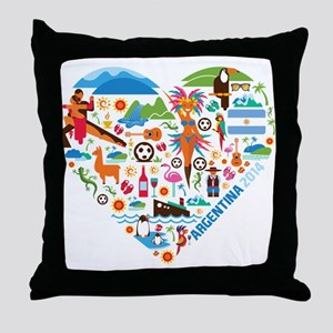 Argentina World Cup 2014 Heart Throw Pillow