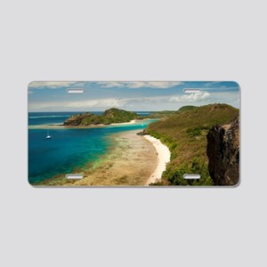 View along a beach in Fiji Aluminum License Plate