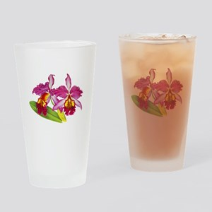 Pink Cattleya Orchid Drinking Glass