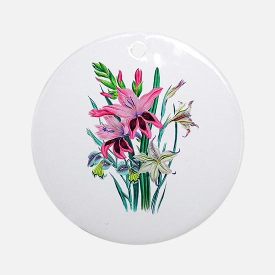 Pink and White Gladiolas by Loudo Ornament (Round)