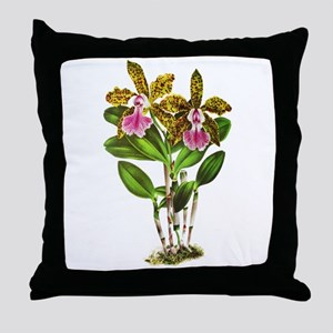 Tropical Cattleya Orchid by Lindenia Throw Pillow