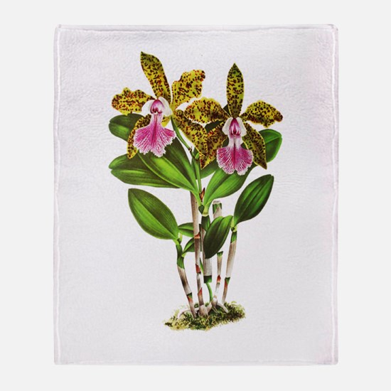 Tropical Cattleya Orchid by Lindenia Throw Blanket