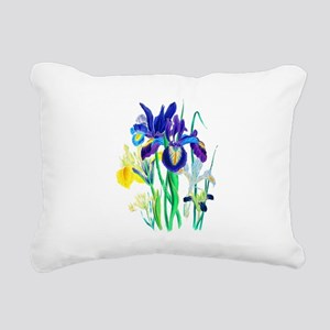 Blue and Yellow Iris by Rectangular Canvas Pillow