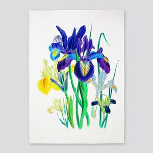 Blue and Yellow Iris by Loudon 5'x7'Area Rug