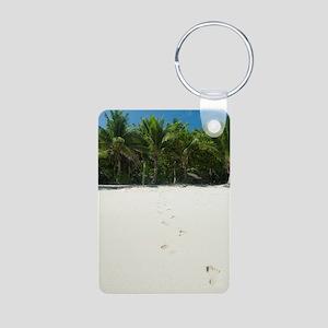 Footprints across a tropic Aluminum Photo Keychain