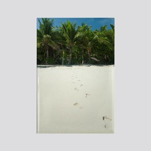 Footprints across a tropical beac Rectangle Magnet