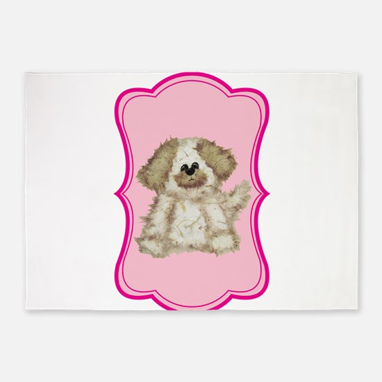 Cute Puppy Dog on Pink 5'x7'Area Rug