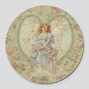 Angel Carrying Roses Round Car Magnet