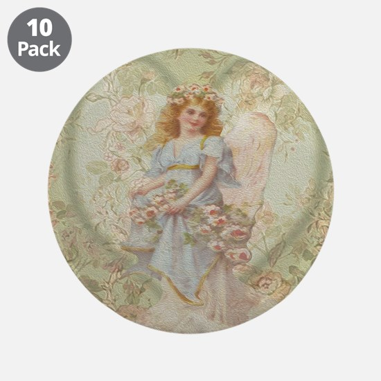 """Angel Carrying Roses 3.5"""" Button (10 pack)"""