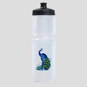 Beautiful Blue Peacock Sports Bottle