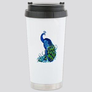 Beautiful Blue Peacock Travel Mug