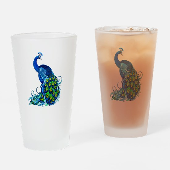Beautiful Blue Peacock Drinking Glass