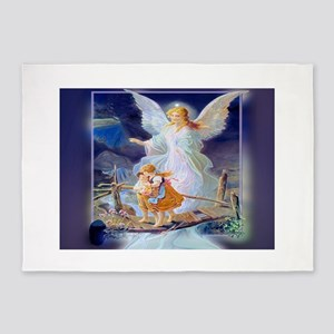 Guardian angel with children crossing bridge 5'x7'