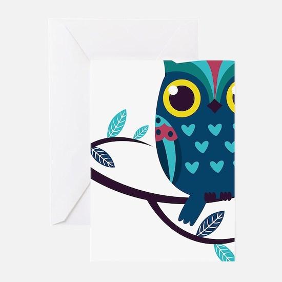 Dark Teal Owl Greeting Cards