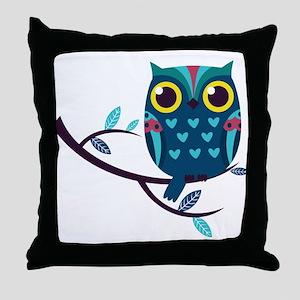 Dark Teal Owl Throw Pillow