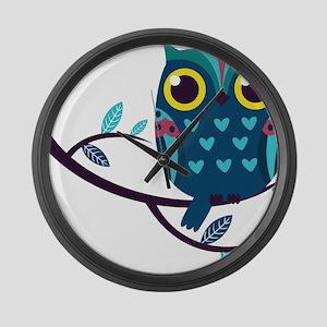 Dark Teal Owl Large Wall Clock