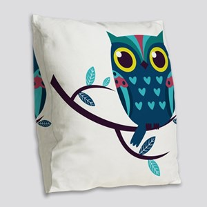 Dark Teal Owl Burlap Throw Pillow