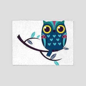 Dark Teal Owl 5'x7'Area Rug