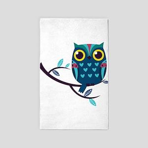 Dark Teal Owl 3'x5' Area Rug