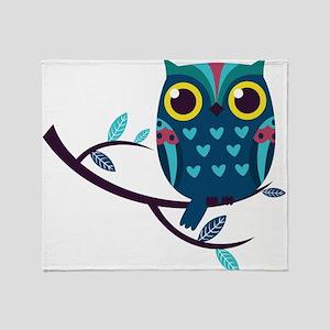 Dark Teal Owl Throw Blanket